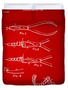1903 Dental Pliers Patent Red Duvet Cover
