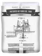 1906 Well Drilling Apparatus Patent Drawing - Retro Gray Duvet Cover