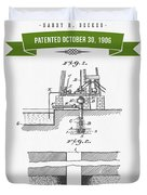 1906 Well Drilling Apparatus Patent Drawing - Retro Green Duvet Cover