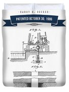 1906 Well Drilling Apparatus Patent Drawing - Retro Navy Blue Duvet Cover