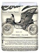 1907 - Columbia Victoria Phaeton Electric Automobile Advertisement Duvet Cover