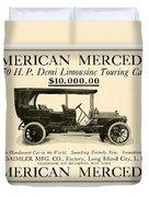 1907 - Daimler Manufacturing Company - American Mercedes Demi Limousine Automobile Advertisement Duvet Cover
