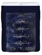 1907 Fishing Lure Patent Blue Duvet Cover