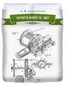 1907 Fishing Reel Patent Drawing - Green Duvet Cover