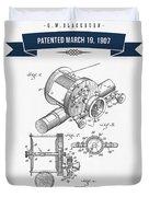 1907 Fishing Reel Patent Drawing - Navy Blue Duvet Cover