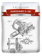 1907 Fishing Reel Patent Drawing - Red Duvet Cover