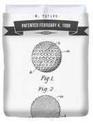 1908 Taylor Golf Ball Patent Drawing - Retro Gray Duvet Cover