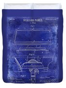 1909 Billiard Table Patent Drawing Blue Duvet Cover