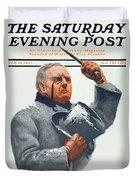 1910 - Saturday Evening Post Magazine Cover - February - Color Duvet Cover