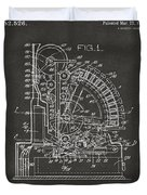 1910 Cash Register Patent Gray Duvet Cover