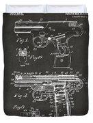 1911 Automatic Firearm Patent Artwork - Gray Duvet Cover