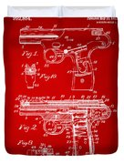 1911 Automatic Firearm Patent Artwork - Red Duvet Cover