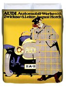1912 - Audi Automobile Advertisement Poster - Ludwig Hohlwein - Color Duvet Cover