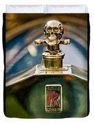 1912 Rolls-royce Silver Ghost Cann Roadster Skull Hood Ornament Duvet Cover