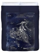 1913 Motorcycle Side Car Patent Blue Duvet Cover