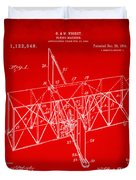 1914 Wright Brothers Flying Machine Patent Red Duvet Cover