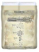 1915 Billiard Cue Patent Drawing  Duvet Cover