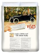 1916 - Willys Overland Roadster Automobile Advertisement - Color Duvet Cover