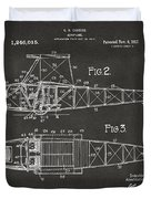1917 Glenn Curtiss Aeroplane Patent Artwork 2 - Gray Duvet Cover