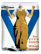 1918 - Ywca Patriotic Poster - World War One - Color Duvet Cover