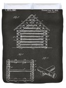 1920 Lincoln Log Cabin Patent Artwork - Gray Duvet Cover by Nikki Marie Smith