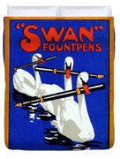 1920 Swan Fountain Pens Duvet Cover
