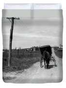 1920s 1930s Amish Man Driving Buggy Duvet Cover