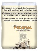 1921 - Federal Truck Advertisement - Color Duvet Cover