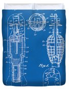 1921 Explosive Missle Patent Minimal Blueprint Duvet Cover by Nikki Marie Smith