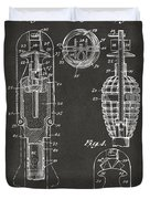 1921 Explosive Missle Patent Minimal Gray Duvet Cover
