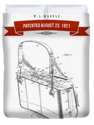 1921 Trout Basket Patent Drawing - Red Duvet Cover