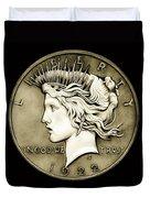 1922 Circulated Peace Dollar Duvet Cover