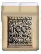1923 100 Million Mark German Stamp Duvet Cover