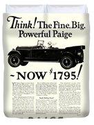 1924 - Paige Automobile Advertisement Duvet Cover