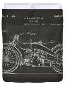 1924 Harley Motorcycle Patent Artwork - Gray Duvet Cover