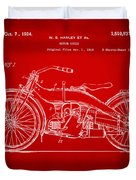 1924 Harley Motorcycle Patent Artwork Red Duvet Cover by Nikki Marie Smith