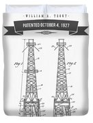 1927 Oil Well Rig Patent Drawing - Retro Gray Duvet Cover