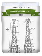 1927 Oil Well Rig Patent Drawing - Retro Green Duvet Cover