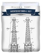 1927 Oil Well Rig Patent Drawing - Retro Navy Blue Duvet Cover