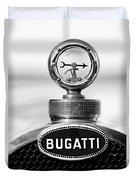 1928 Bugatti Type 44 Cabriolet Hood Ornament - Emblem Duvet Cover