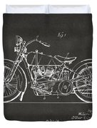 1928 Harley Motorcycle Patent Artwork - Gray Duvet Cover by Nikki Marie Smith