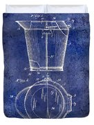 1928 Milk Pail Patent Drawing Blue Duvet Cover
