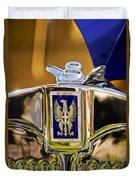 1929 Bianchi S8 Graber Cabriolet Hood Ornament And Emblem Duvet Cover