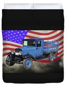 1929 Blue Chevy Truck And American Flag Duvet Cover