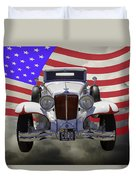 1929 Cord 6-29 Cabriolet Antique Car With American Flag Duvet Cover
