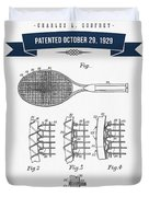 1929 Tennis Racket Patent Drawing - Retro Navy Blue Duvet Cover