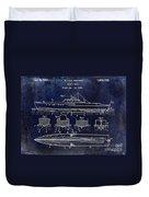 1930 Ship's Hull Patent Drawing Blue Duvet Cover