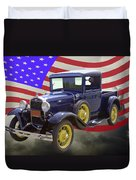 1930 Model A Ford Pickup Truck And American Flag Duvet Cover