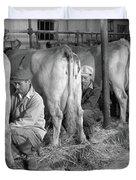 1930s 1940s Three Men Hand Milking Duvet Cover