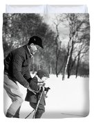 1930s Father & Son Man Wearing Jacket Duvet Cover